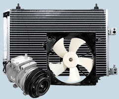 Automotive Airconditioning - Condensors, fans, pumps and fittings.
